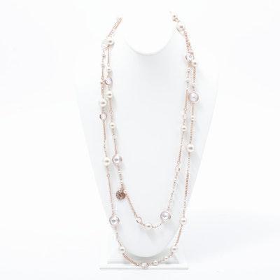 Henri Bendel Rose Gold Tone Double-Strand Opera Necklace