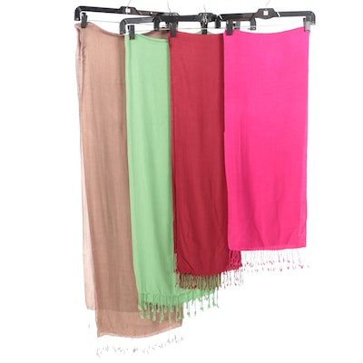 Indian Silk and Wool Blend Wrap Fringed Scarves