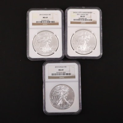 Three NGC Graded MS69 American Silver Eagles, 2010 to 2012