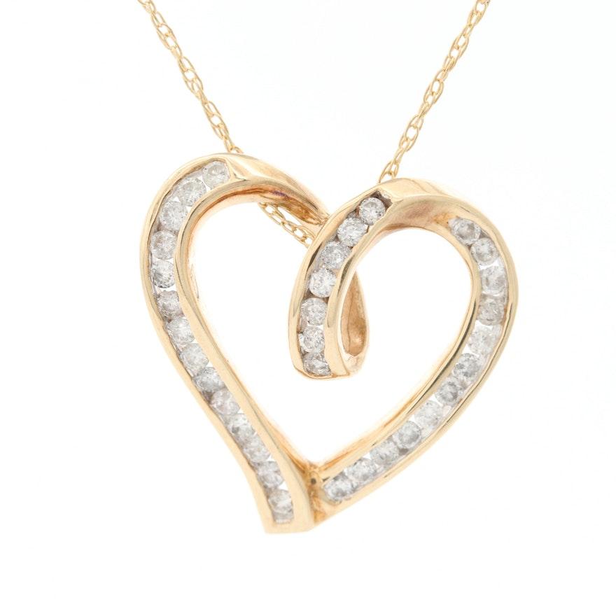 10K Yellow Gold Diamond Heart Pendant on 14K Yellow Gold Chain