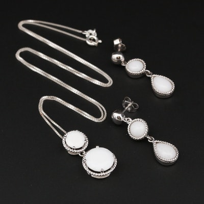 Sterling Silver Calcite Necklace and Earrings Set