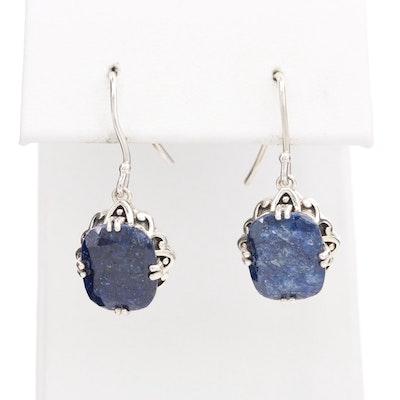 Sterling Silver Corundum Drop Earrings