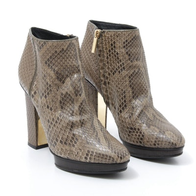 Devi Kroell Reptile Leather Booties, Made in Italy