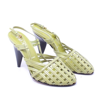 Prada Woven Leather Slingback Pumps, Made in Italy