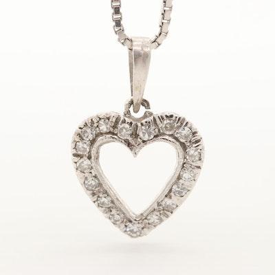 18K White Gold Diamond Heart Pendant Necklace