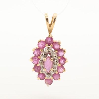 I14K Yellow Gold Ruby and Diamond Pendant