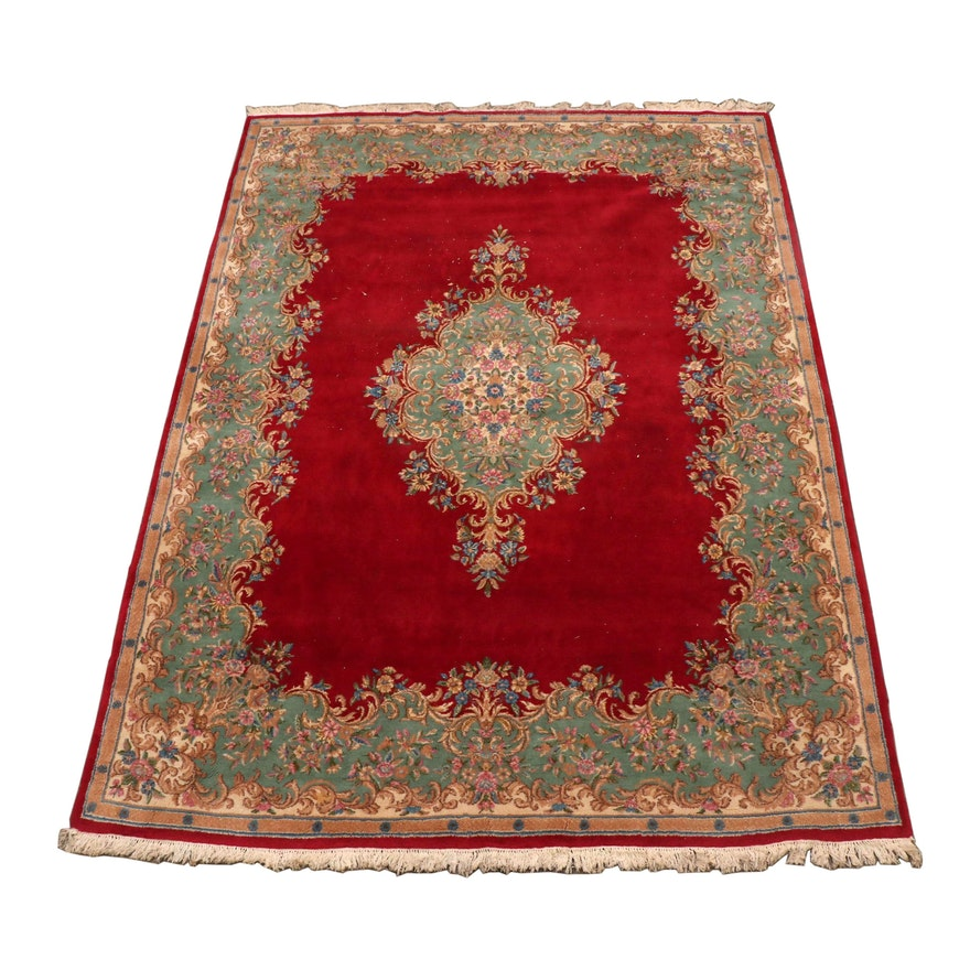 Hand-Knotted Persian Kerman Style Wool Room Sized Rug