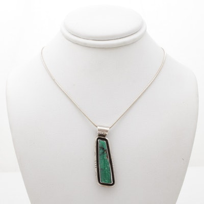 Southwest Style Sterling Silver and Turquoise Necklace