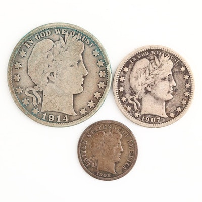 Barber Silver Dime, Quarter and Half Dollar