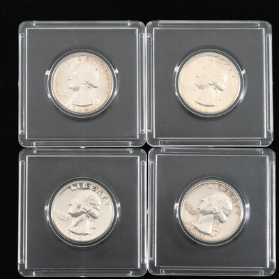 Four Washington Silver Proof and Uncirculated Quarters