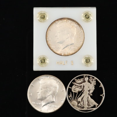 Walking Liberty Silver Half Dollar and Two Kennedy Silver Half Dollars
