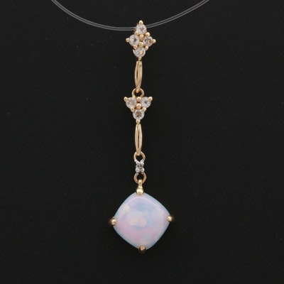 14K Yellow Gold Opal, Diamond and White Topaz Dangle Pendant
