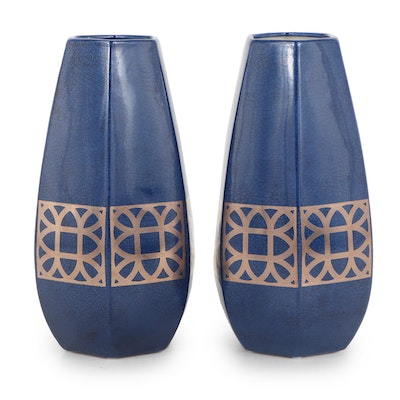 Port 68 Pair of Blue and Gold Toned Floor Vases