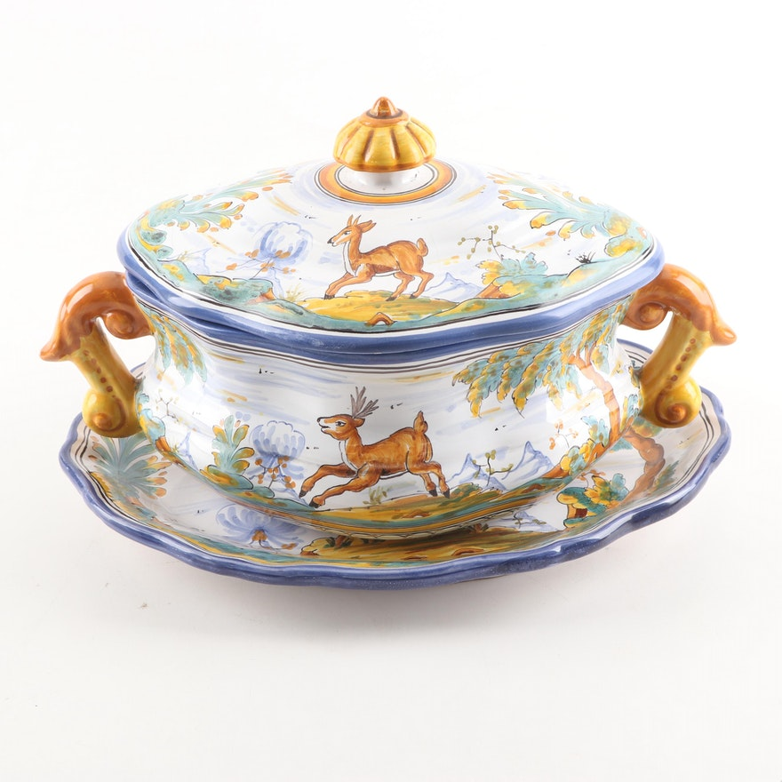 Talavera Faiance Pottery Scenic Tureen with Lid and Underplate