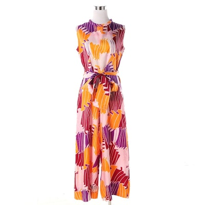 Fashions by Marilyn Floral Print Sleeveless Belted Jumpsuit, 1960s Vintage