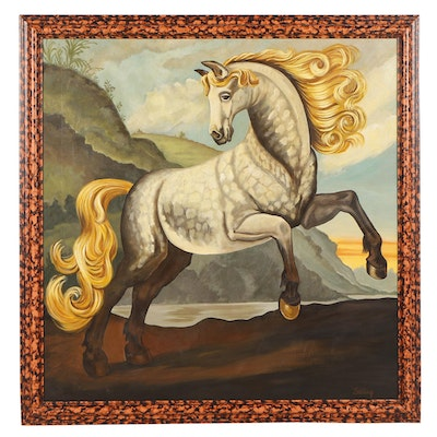William Skilling Rearing Horse Oil Painting