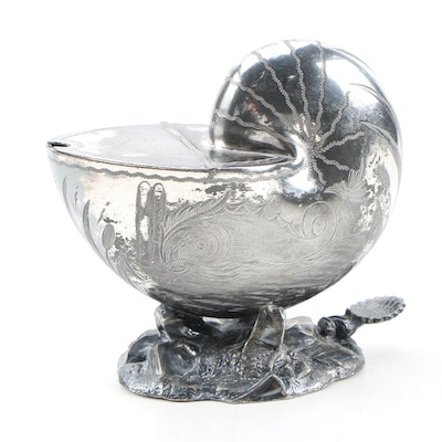 Victorian Chased Silver Plate Nautilus Form Spoon Warmer