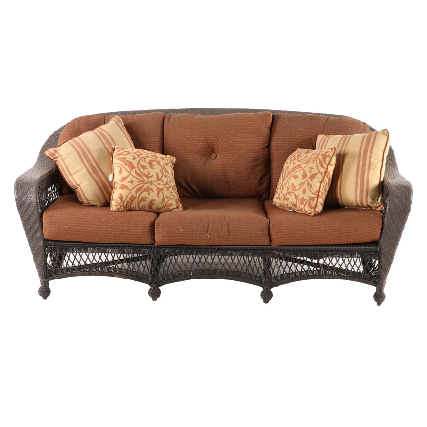 Woven Synthetic Wicker Sofa with Roger's Cushions and CoverMates Cover