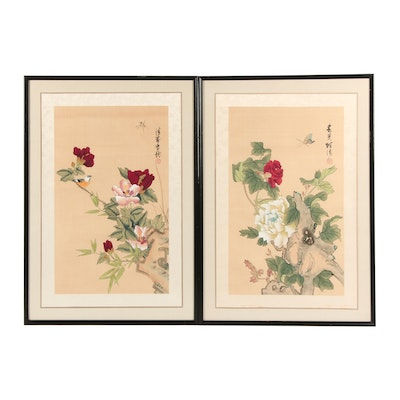 East Asian Watercolor and Gouache Paintings of Flora and Fauna