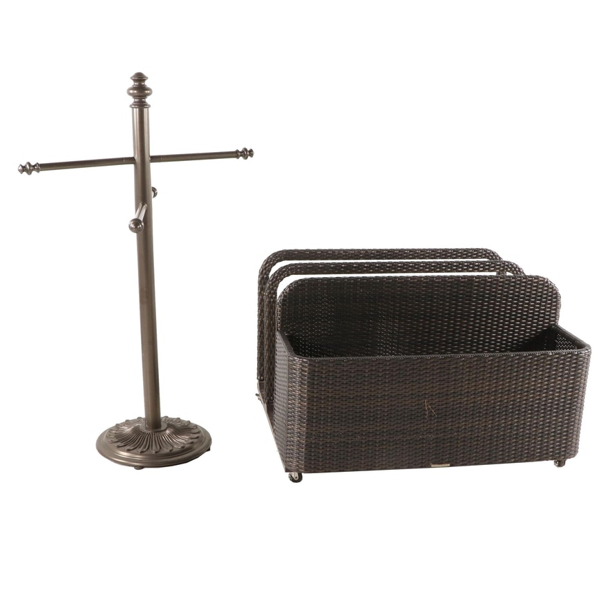 Front Gate Woven Synthetic Wicker Pool Float Stand and Metal Towel Rack