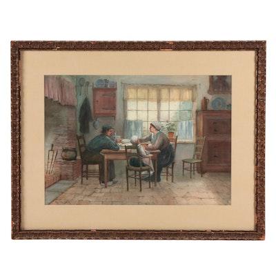 George Herdle Kitchen Genre Watercolor Painting