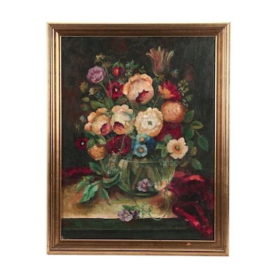 C. Huston Late 19th Century Floral Oil Painting