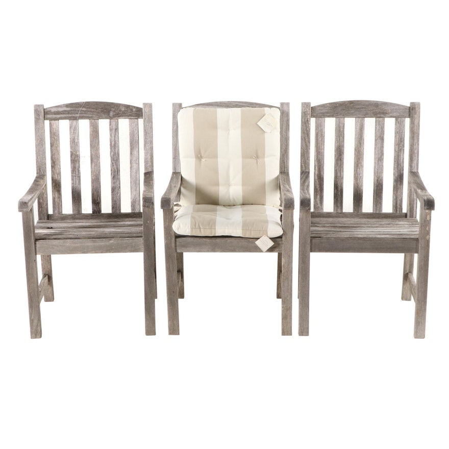 Weathered Teak Patio Chairs, Contemporary
