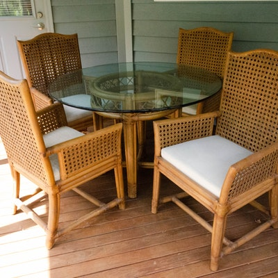 Ficks Reed Rattan and Cane Patio Dining Set and Side Table