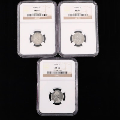 Three NGC Graded MS66 1943 Lincoln Wheat Steel Cents
