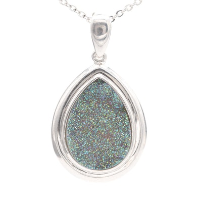 Sterling Silver Druzy Enhancer Pendant Necklace