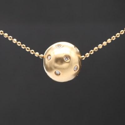 18K Yellow Gold Diamond Bead Pendant Necklace