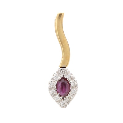 18K Yellow and White Gold Ruby and Diamond Pendant