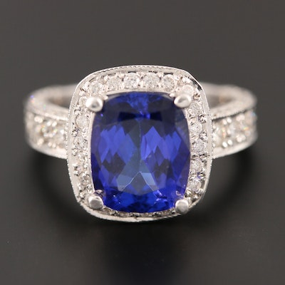 18K White Gold 3.70 CT Tanzanite and Diamond Ring