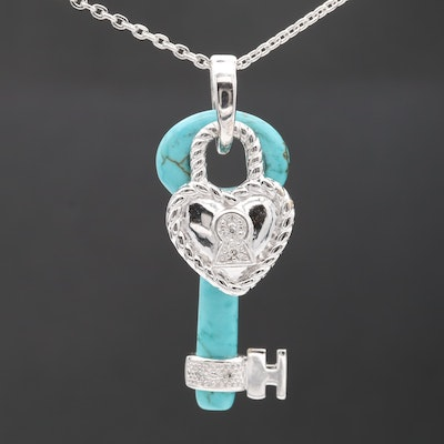Sterling Silver Magnasite and Diamond Key and Heart Pendant Necklace