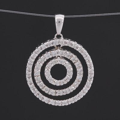 14K White Gold Diamond Triple Hoop Sliding Pendant