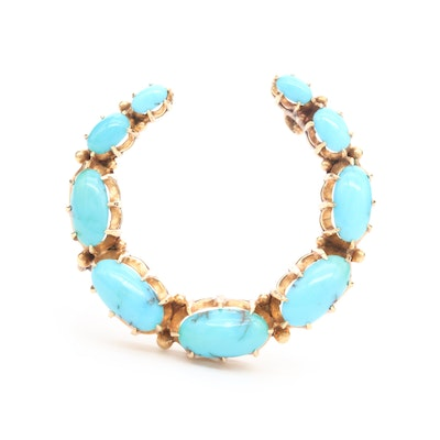 Victorian 18K and 14K Yellow Gold Turquoise Brooch