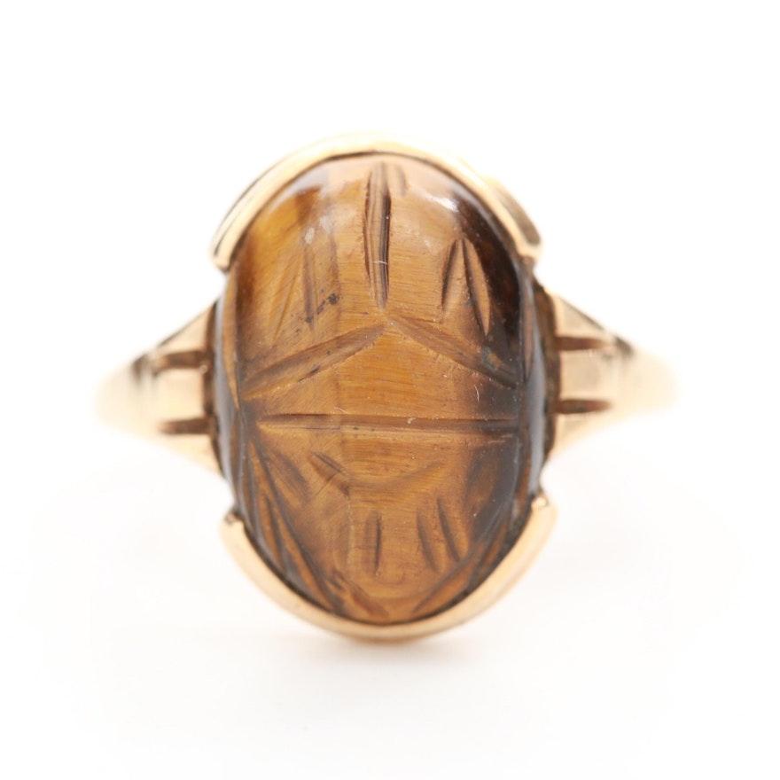 10K Yellow Gold Tiger's Eye Scarab Ring
