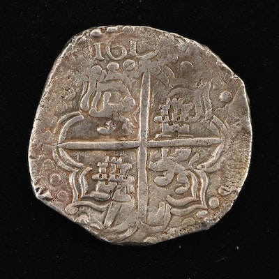 1619 Mexico Spanish Colony Eight Reales Silver Cob Coin