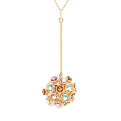 18K Yellow Gold Gemstone Sputnik Style Pendant with 10K Yellow Gold Chain