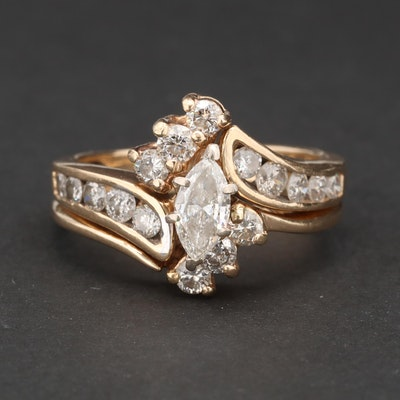 14K Yellow Gold 1.41 CTW Diamond Ring and Shadow Band Set
