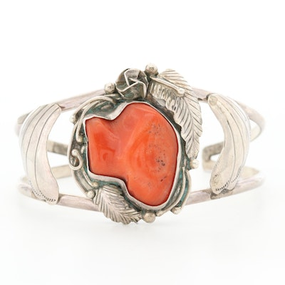 Southwestern Style Sterling Silver Coral Cuff Bracelet