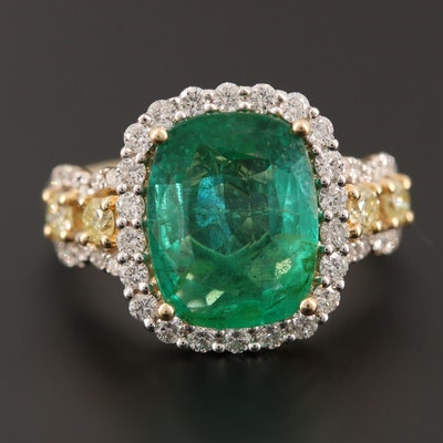 14K Yellow Gold 3.71 CTW Emerald and Diamond Ring