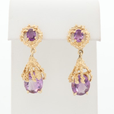 14K Yellow Gold Amethyst Drop Earrings