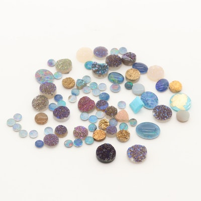 Loose 59.61 CTW Gemstones Including Opal Triplet and Druzy
