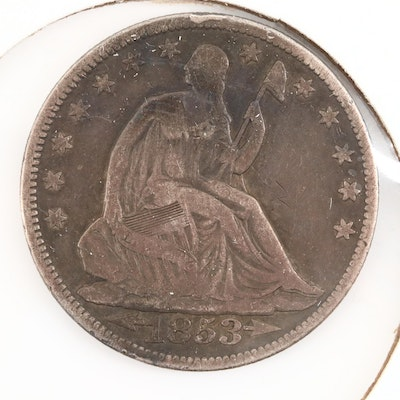 1853 Seated Liberty Silver Half Dollar