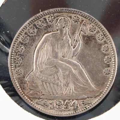 1854 Seated Liberty Silver Half Dollar