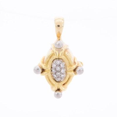 18K Yellow Gold Pavé Diamond Sliding Pendant