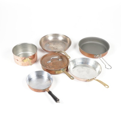 Copper Pans and Skillets, Group of Six