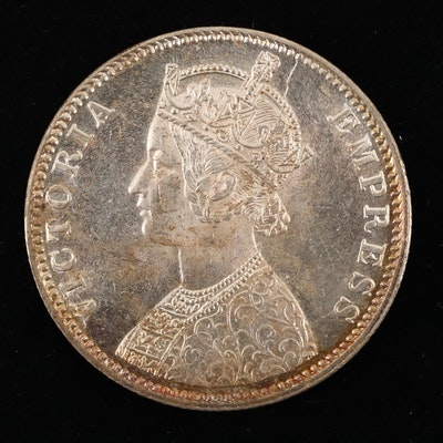 1901-B India One Rupee Silver Coin
