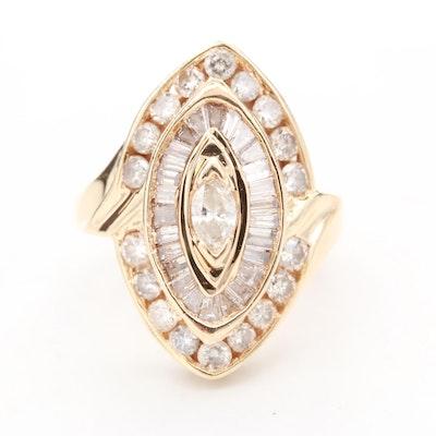 14K Yellow Gold 1.75 CTW Diamond Pointer Ring